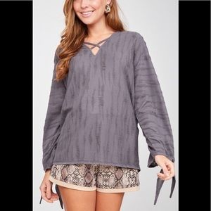 NWT Distressed Knotted Top